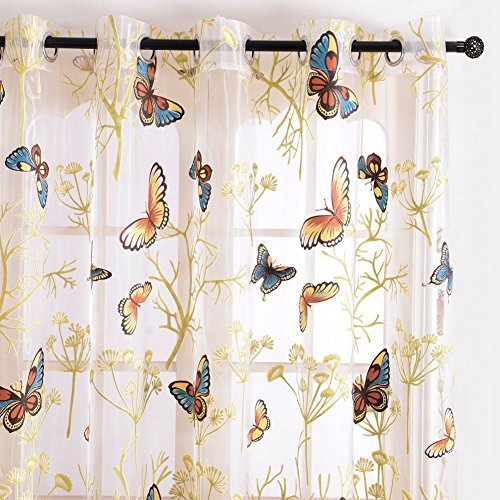 Top Finel Butterfly Voile Window Curtain Sheer Panels For Living Room 76 Inch Width X 84 LengthGrommetsSingle Panel