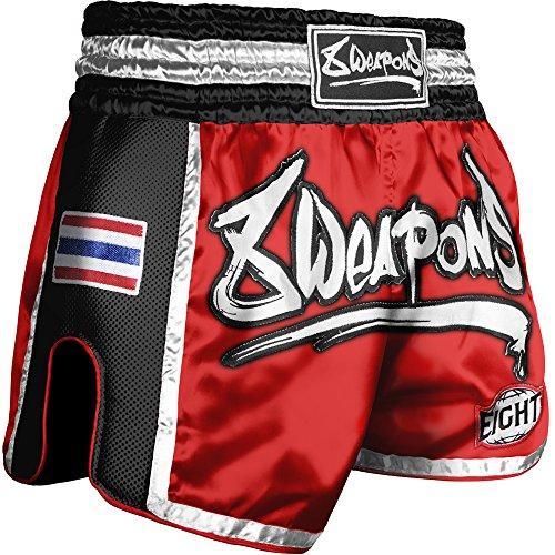 8 WEAPONS Shorts, Super Mesh, rot-schwarz, Muay Thai Hosen, Short, Thaiboxhosen Größe XXL (Twins Muay Thai Shorts)
