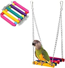 (28cm) Papageien-Vogel-Stand, Stab-Schwengeleiter-Beißenkauen-Spielzeug-Farbsuspendierungs-Brücken-Schwingen-Spielwaren Kletternde Vogelkäfig-Zusatz-erhöhte Station liefert Cockatiel-Käfig-Hängematten-Haustier