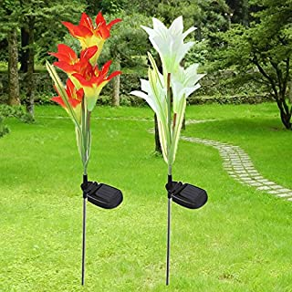 ADAALEN Solar 4 LED Lily Flower Light Outdoor Garden Lawn Color Changing Lamp