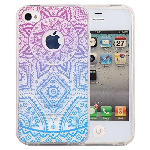 JIAXIUFEN TPU Coque - pour Apple iPhone 4 4S Silicone Étui Housse Protecteur - Purple Blue Tribal Henna Color12