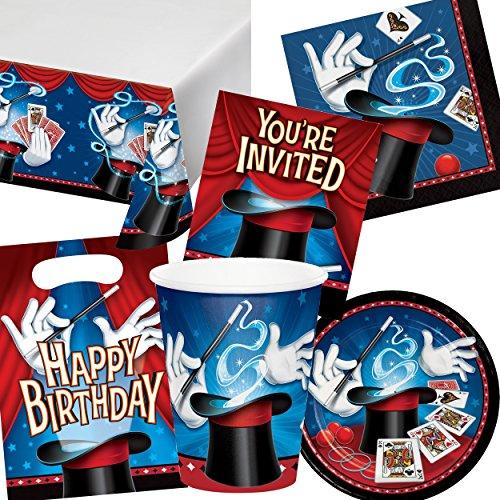 101-teiliges Party-Set * ZAUBEREI * für Kindergeburtstag und Motto-Party // mit Teller + Becher + Servietten + Einladungen + Tischdecke + Partytüten // Kinder Geburtstag Magie magisch Zauberer Deko