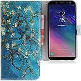 CLM-Tech kompatibel mit Samsung Galaxy A6 2018 Hülle, Tasche aus Kunstleder Baum AST Blüten blau Mehrfarbig, PU Leder-Tasche für Samsung Galaxy A6 2018 Lederhülle