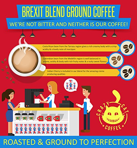 Limited Edition Crazy Cat Brexit Blend Ground Coffee, Non Bitter, Medium Strength 4, Full Bodied Flavour, Roasted and Ground to Perfection 250g