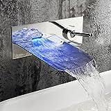 JRUIA Chrom Wandmontage LED Wasserfall Bad Wasserhahn 2-Loch-Unterputz Waschtischarmatur Einhebel Mischbatterie Badarmatur Waschbecken Armaturen f.Badezimmer aus Messing