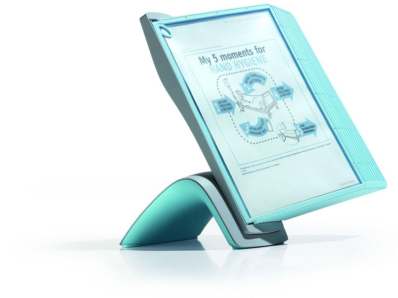 Durable Sherpa Style 10-panel Antimicrobial Desk Reference System, azzurro (594406) Sistema da scri