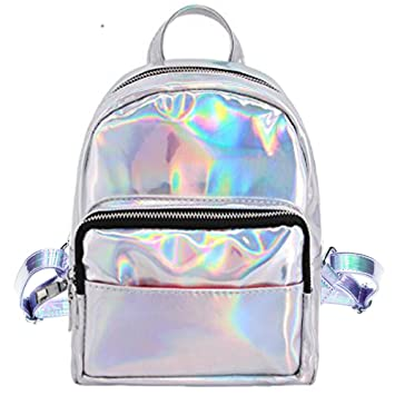 Hossty Women\'s Holographic Leather Travel Satchel Shoulder Backpack School Bags B07875KT5C