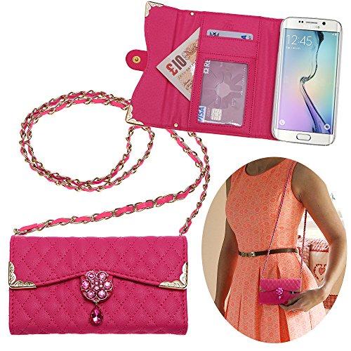 Xtra-funky esclusivo samsung galaxy s6 edge lusso faux custodia in pelle trapuntata borsa della borsa di stile con la cinghia da trasporto e splendidamente decorate fiore di cristallo - rosa (include un mini stilo e schermo lcd pellicola)