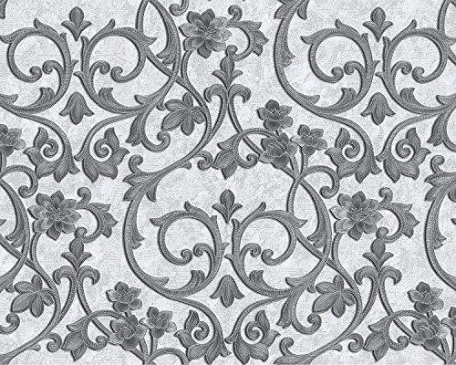 Barock Tapete EDEM 9016-30 Vliestapete geprägt mit floralen Ornamenten und metallischen Akzenten weiß creme-weiß silber platin 10,65 m2
