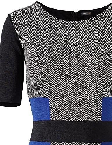 APART Fashion 32792 - Robe - Femme Gris - Grau (schwarz-creme-royalblau)