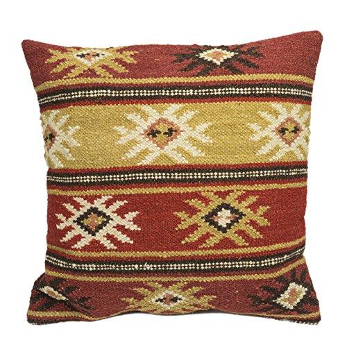 Fair Trade Kelim Kissen handgefertigt auf gewebt mit 80/20Wolle/Baumwolle und natürliche Farbstoffe Pushka Türgriff (45x 45)