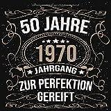50 Jahre Jahrgang 1970 zur Perfektion gereift: Geschenk zum 50. Geburtstag Geschenk Geburtstagsparty Gästebuch Eintragen von Wünschen / Design: Luftschlangen Schwarz Gold