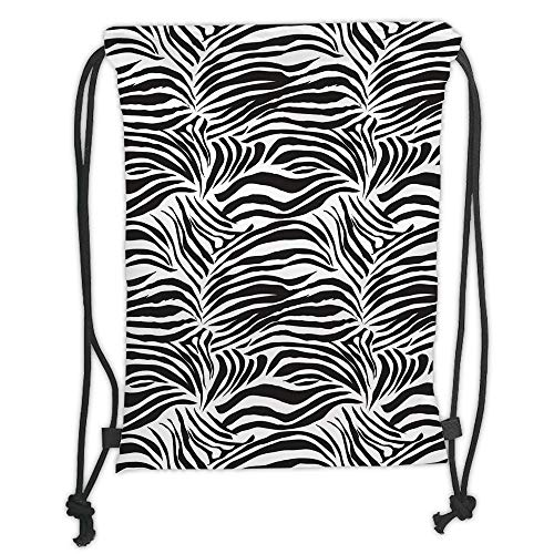 Drawstring Backpacks Bags,Zebra Print,Striped Zebra Animal Print Nature Wildlife Inspired Fashion Simple Illustration,Black White Soft Satin,5 Liter Capacity,Adjustable String Clos -