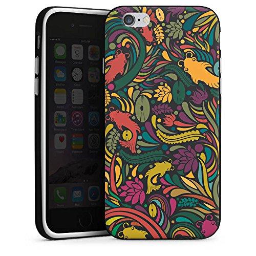 Apple iPhone 4 Housse Étui Silicone Coque Protection Fleur Poissons Motif Housse en silicone noir / blanc