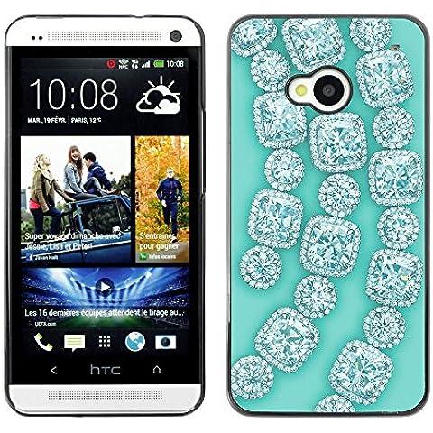 GooooStore/Dura Custodia Rigida della copertura della cassa - Gemstones Gems Green Bling - HTC One M7