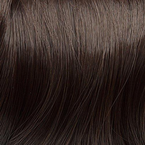 Prettyland - DQ138 pelo largo one-Piece Extensión de Cabello, media Peluca ondulada con Clip in - marrón oscuro natural