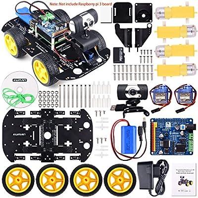 Kuman Professional WIFI Smart Robot Model Car Kit Videokamera for Raspberry Pi 3 RC Fernbedienung Robotik Elektronische Spielzeug Spiel Controlled by PC Android ISO App mit 8G SD Card (nicht enthalten Raspberry Pi) SM9 von Kuman