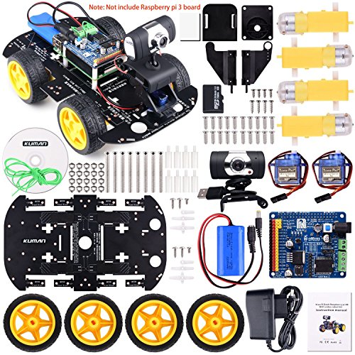 Kuman Professional WIFI Smart Robot Model Car Kit Videokamera for Raspberry Pi 3 RC Fernbedienung Robotik Elektronische Spielzeug Spiel Controlled by PC Android ISO App mit 8G SD Card (nicht enthalten Raspberry Pi) SM9 (Card Management Adapter)