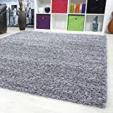 Einfarbig Unicolor Hochflor Shaggy Teppich Wohnzimmer Langflor versch. Farben und Größe 1500 HELLGRAU (60x110 cm)