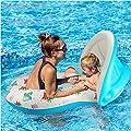 QIN-SUN Mutter & Baby Schwimmbrett für Babys, Sicherheits-Pool Boot, Spielzeug mit Sonnendach, für 6-36 Monate, Weiß