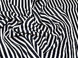 Imprimé à rayures Polyester Tissu de crêpe Bleu marine et blanc–au mètre