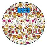 Bilancia digitale di precisione tondo Gufo Misurazioni accurate del peso della bilancia pesapersone in vetro ultra sottile,Colori ispirati agli anni '60 Psichedelici Astratti Uccelli e fiori Immagine