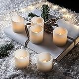 Questo set di candele LED è essenziale ma d'effetto. Fatto a mano con cera, batterie incluse, lampadina ad effetto tremolante come una vera fiamma e persino i bordi consumati. Ci si puó godere la calda luce di una candela senza il fastidio do...