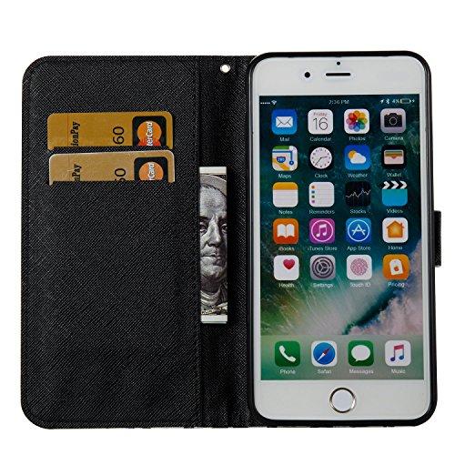 iPhone 8 Plus Hülle, STENES 3D Stilvoll Serie Kartenfach Standfunktion Magnet Ledertasche Wallet TPU Stoßfänger Schutzhülle für iPhone 7 Plus / iPhone 8 Plus - Blumen / Lila Blumen / Lila