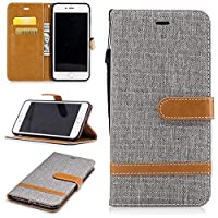 For iPhone 7 Plus Case [with Free Screen Protector], Qimmortal(TM) Premium Soft PU Leather Cowboy Cloth Wallet Cover Case with [Kickstand] Credit Card ID Slot Holder Magnetic Closure Design Folio Flip Protective Slim Skin Cover For iPhone 7 Plus(Gray)