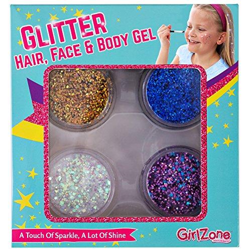 GIRLZONE BOTES DE GEL DE BRILLANTINA para cabello pelo y cuerpo REGALO PARA CHICAS Set De 4 Glitter Gel Brillantina Metálica Maquillaje Gel con Purpurina, no tóxico Niñas niños de 3 a 10 años