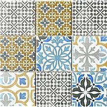 Retro Vintage Mosaico Azulejos Cerámica Crema Azul Naranja Gris Mate para ducha de baño Cocina azulejos