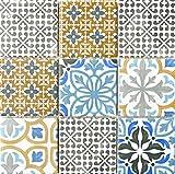 Retro Vintage Mosaico Azulejos Cerámica Crema Azul Naranja Gris Mate para ducha de baño Cocina azulejos Espejo Mostradores cubierta para bañera. wb22b de 1406
