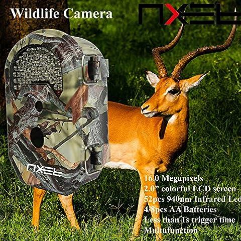 nxet®–Telecamera, 52pcs IR LED/20M 16MP 1080P HD infrarossi Game & Trail Camera visione notturna 2.0LCD Display impermeabile caccia Scouting fotocamera digitale Telecamera di sorveglianza