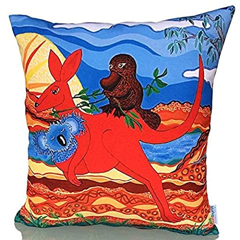 Sunburst Outdoor Living 60cm x 60cm AUSSIE Funny Orange Decorative Throw Pillow Cushion Cover for Couch, Bed, Sofa or Patio - Only Case, No Insert