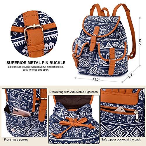 Vbiger Rucksack Rucksack Rucksack Schulrucksack Großer Canvas mit Daypack Damen Damen Kapazität Backpack Elefant Blau Vintage rgfZHrw