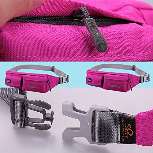WATERFLY Reisetasche Bum Bag Gürteltasche Schultertasche fürs Gym Jogging Radfahren und Wandern Rosa