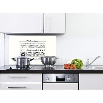 GRAZDesign 200059_60x40_SP Küchenrückwand Glas-Bild Spritzschutz Herd  |Edler Kunstdruck hinter Glas | Bild-Motiv Küchenordnung | Eyecatcher für  ...