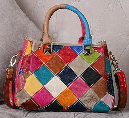 Multicolore Patchwork in vera pelle piccola cerniera borsa Messenger multicolour