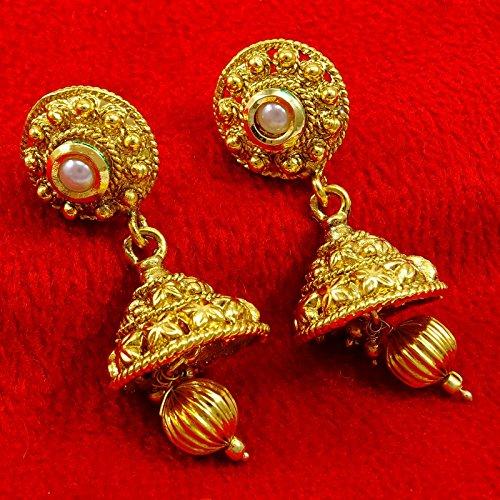 Banithani Indien Jhumka Goldplated Boucles D'Oreilles Ethniques Cadeau De Bijoux Traditionnels Pour Elle or-7