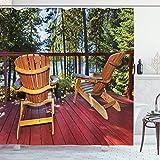 EdCott Patrón Silla Adirondack en el Porche Bosque Aire Fresco habitación hogar Adecuado baño Cuarto baño Cortina Hotel rubí Ocre Verde limón y Azul Claro