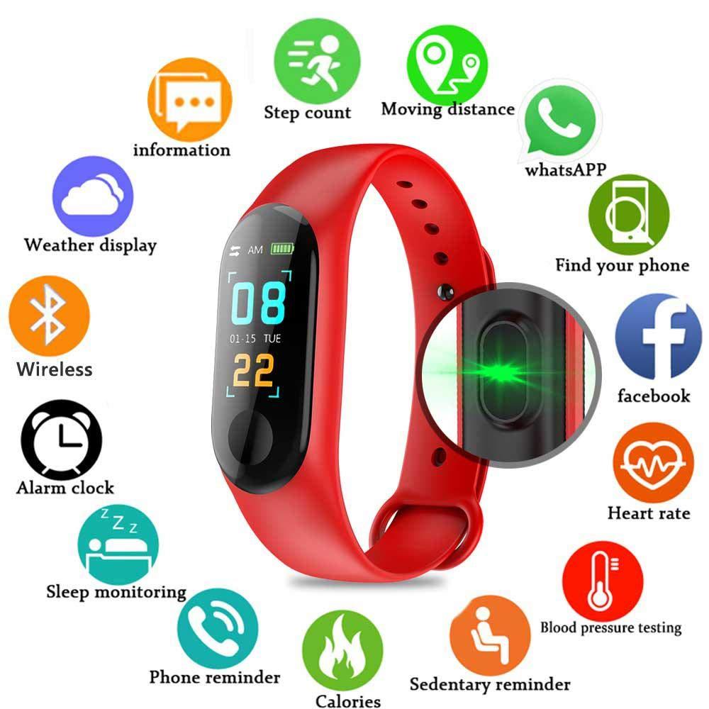 Pulsera inteligente/rastreador de fitness, pantalla de color HD IP68 impermeable M3 Plus pulsera de seguimiento de… 1
