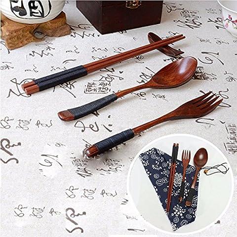 Japanese Natural Wooden Spoon Chopsticks Fork Tableware Multifunction Dinnerware