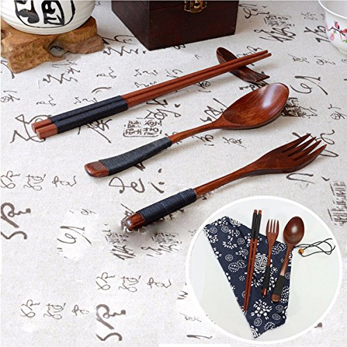 KingFly Japanese Natural Wooden Chopsticks Spoon Fork Tableware  sc 1 st  Amazon UK & Japanese Tableware: Amazon.co.uk