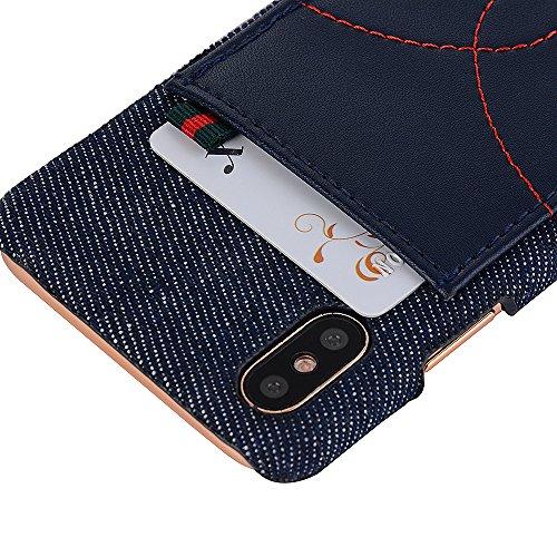 iPhone X Hülle, Valenth Schutzharte Rückseite Hülle Abdeckung mit Einbauschlitz für iPhone X Schwarz
