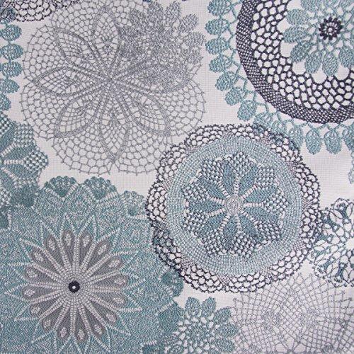 Möbelstoff Polsterstoff Dekostoff Doily Mandala Blumen grau türkis 1,40m Breite -