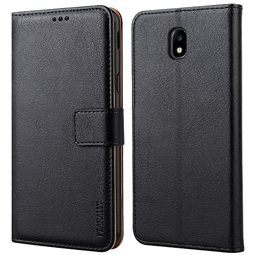 Peakally Samsung Galaxy J3 2017 Hülle, Premium Leder Tasche Flip Wallet Case [Standfunktion] [Kartenfächern] PU-Leder Schutzhülle Brieftasche Handyhülle für Samsung Galaxy J3 2017 5.0