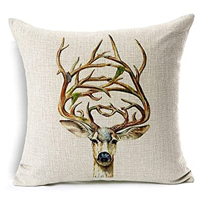 PinnLife pillow and cushion,Cotton Linen 18X18inch,Antlers - inexpensive UK cushion store.