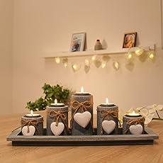 Teelichthalter-Set auf Holz-Tablett Weihnachten Tischdekoration Weihnachtsdekoration innen Tischdeko Landhausstil Wohnzimmer-Tisch