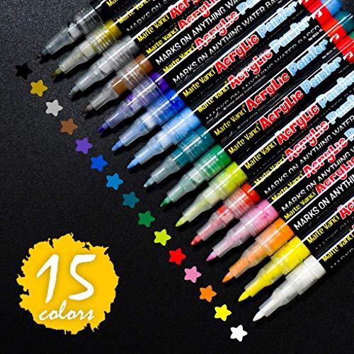 Steine Bemalen Stifte Set,15 Farben Acrylstifte Wasserfest Permanent Paint Markers,Kinder DIY Stift Art für Stein, Rock-Malerei, Keramik, Porzellan, Metall, Kunststoff. (15 Stein)