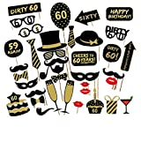 Veewon 60e fête d'anniversaire Party Booth Props Unisexe Funny 36pcs DIY Kit Convient pour His or Hers 60ème Anniversaire Celebration Propulsion de Photobooth
